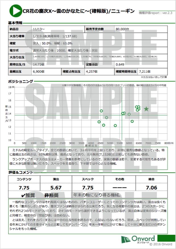 新機種表レポートサンプル